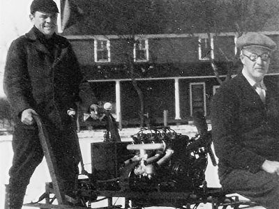 Pop & Porter with their Snow Machine....the first Snowmobile?